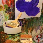 Big brushes at the easel wall