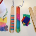 Wooden shapes with bled tissue paper