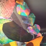 Color mixing on paper hearts