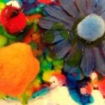 Colored glue collage