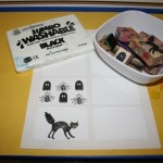 Decorating blank stickers with Halloween stamps