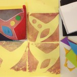 Making stamps with sticky foam scraps