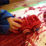 Painting with cars and trains