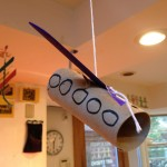 Airplane, rocket, bird, hanging sculpture