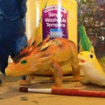 Dinos and tempera paint