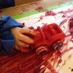 Painting with trains and cars
