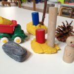 Play dough with trucks