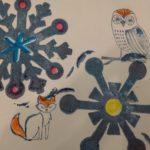 Snowflake and animal stamps