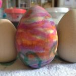 Painting eggs with liquid watercolors