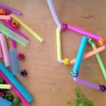 Sculpture with pipe cleaners and straws