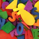 Colorful letter and shape collage