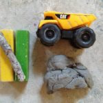 Construction vehicles and clay