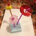 Wire sculpture flower arrangements