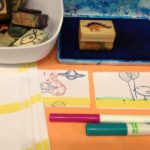 Printing with stencils, paint, and sponges