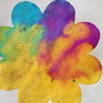 Color mixing on flowers and butterfly paper