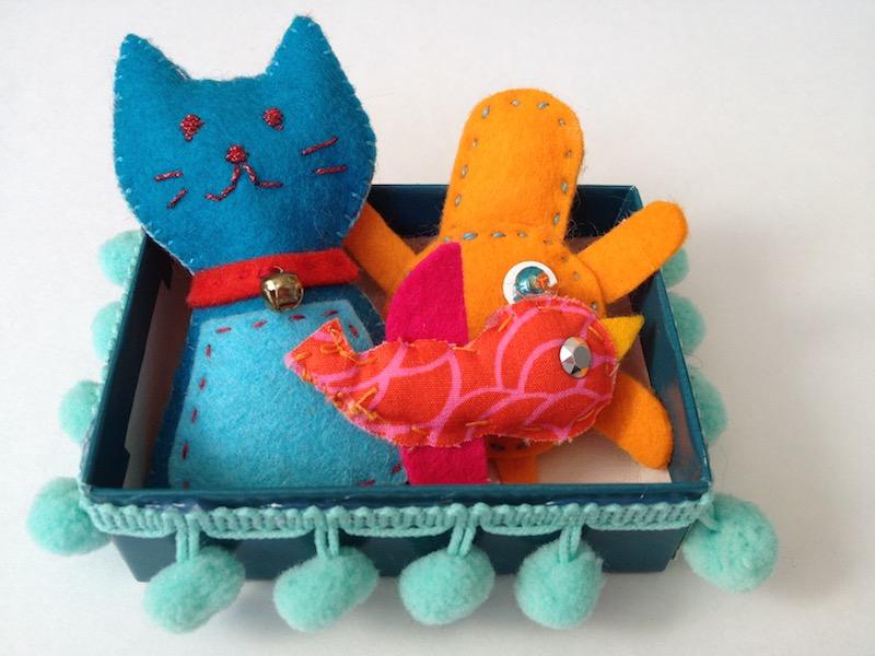 Sewn and stuffed box pets