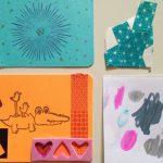 Collaged artist cards