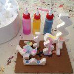 Colored glue and wavy styrofoam