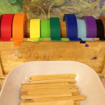 Craft sticks and colored tape