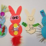 Decorating paper bunnies